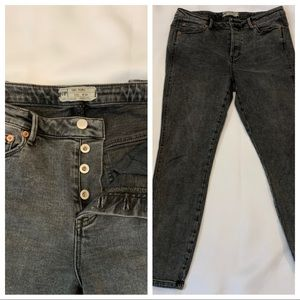 FREE PEOPLE HIGH WAIST SKINNY JEANS BUTTON FLY